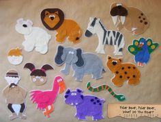 """Felt animals from the story book """"Polar Bear, Polar Bear, What do you hear?"""""""