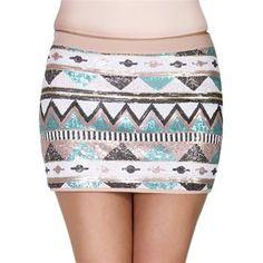 Double Zero Women's Aztec Sequin Micro Mini Skirt