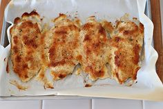 """OMG Chicken"""" Just mix Sour Cream or Yogurt (1/2 c) and Parmesan cheese (1/4 c). Spread over chicken breast in a baking dish, sprinkle Italian bread crumbs on top and bake for 20-30 minutes at 425 degrees. So tasty too."""