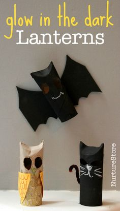 Halloween lantern crafts : paper roll Halloween bats, cats and owls that glow in the dark!