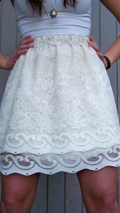 Curtain to skirt refashion