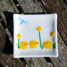 Easter Chicks Fused Glass