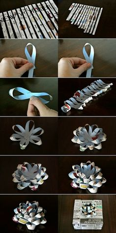 How to make gift bows from paper - wrapping - #recycled