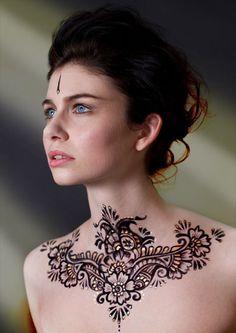 Henna on neck from Roving Horse Henna Body Art