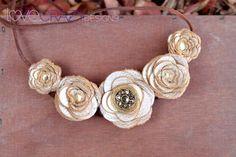 Leather flower bib necklace. $52.00, via Etsy.