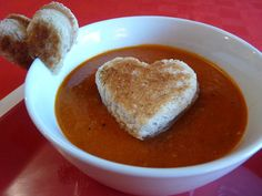 Make Tomato Soup and Heart Grilled Cheese for Valentine's Lunch of Dinner for the kids #valentines #kids #food