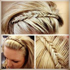 fishtail braid as headband...i love this!