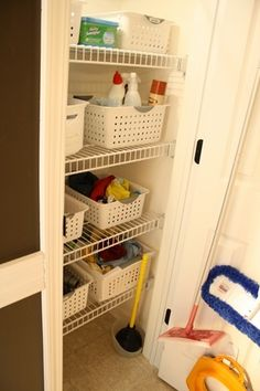 cleaning supplies shelf
