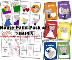 Free Mouse Paint Worksheets to teach toddlers and preschoolers about colors, shapes, counting, and more! #preschool