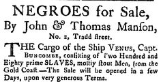 """A 1784 newspaper ad for a slave auction, published in the South-Carolina Weekly Gazette (Charleston, South Carolina), 17 July 1784. Read more on the GenealogyBank blog: """"African American Slave Trade: Ships & Records for Genealogy."""" http://blog.genealogybank.com/african-american-slave-trade-ships-records-for-genealogy.html"""