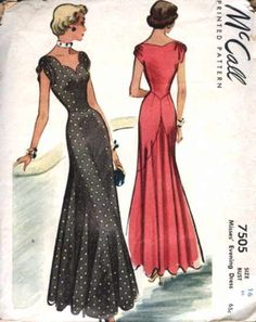 McCall 7505-16 Vintage dress pattern. A simple option for bridesmaids? Would be quite flattering for many body shapes.