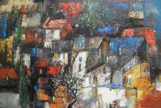 Original Oil Painting, Expressionistic Realism, Urban Landscape, Night Over the Town, 20 x 28, oil on canvas, by Grigor Malinov. $900.00, via Etsy.