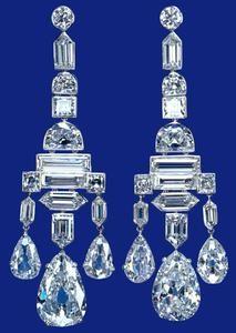 : Queen Elizabeth the Queen Mother's diamond chandelier earrings, Cartier. Britain tiara
