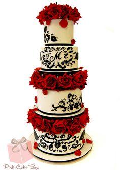 Red Rose & Black Damask Wedding Cake from Pink Cake Box