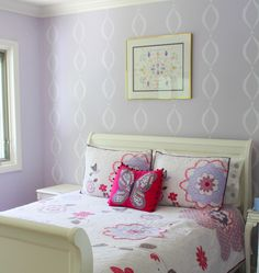 Purple Butterfly Girl's Room - we love the adorable stenciled accent wall! #biggirlroom