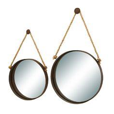 Woodland Imports Gray 2 Piece Nautical Ocean Porthole Mirror Set | Wayfair