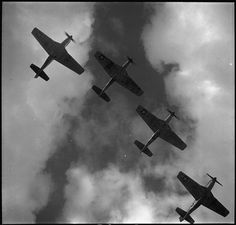 World War II Four P-51 Mustangs flying in formation, Ramitelli, Italy, photograph by Toni Frissell, March, 1945.