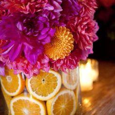 Dahlia and lemon arrangement
