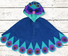 fairytale frocks and lollipops :: my childhood treasures, maisie cape, peacock, girl, baby, infant, toddler, boy, unisex, child, halloween, costume, dress-up, dress up, play, playtime, bird, unique, boutique, special, fall, winter, sewing, instant, digital, download, pdf, e-pattern, e-book, epattern, ebook, tutorial, digipattern