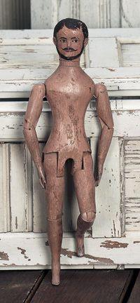 antique american wooden bearded man
