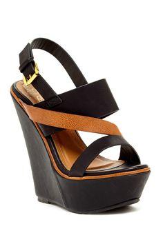Two-Tone Wedge Sandal