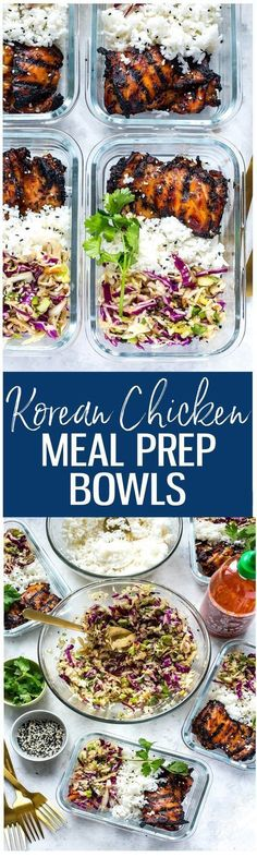These Korean Chicken Meal Prep Bowls are a healthy make ahead lunch idea made up of chicken thighs, Asian coleslaw and jasmine rice! #mealplaning