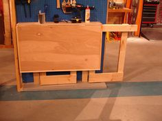 completed workbench should fold flat against wall