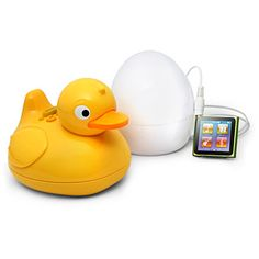 iDuck - sold in the US! iDuck: Plug your iPod into the egg, then the duck plays your music in the shower wirelessly (and it's waterproof).