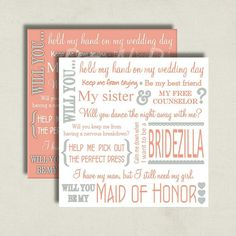 Coral Wedding. Will You Be My Maid of Honor Proposal Card by BitsnPiecesEvents, $7.00