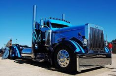 Blue and black custom Peterbilt
