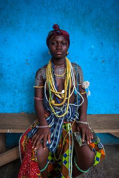 Young girl from the Krobo tribal group wearing traditional  beads by Anthony Pappone photographer, via Flickr