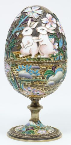 Imperial Russian silver enameled egg by Ovchinnikov