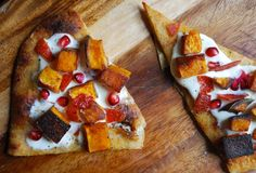 flatbread with creme fraiche, butternut squash, chorizo, and pomegranate seeds #partycrafters
