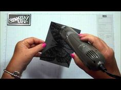 Stampin' Up! ... Bleaching Technique with Dawn - Swallowtail butterfly background stamp gray with black  heat embossing ... YouTube video tutorial ...  great shades of gray look ...