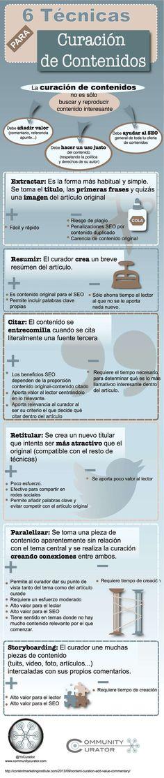 6 técnicas para curación de contenidos. #infografia #marketing
