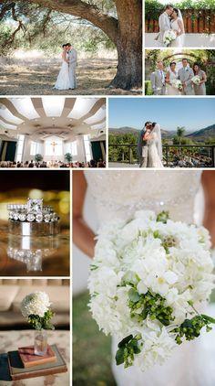 vintage white with green wedding theme