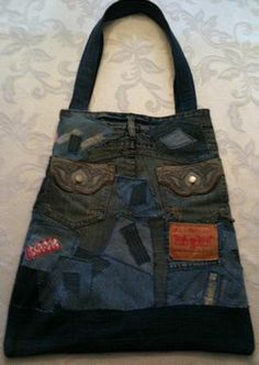 Save interesting scraps from your family's blue jeans.  When you've got enough, make this memory blue jean tote.