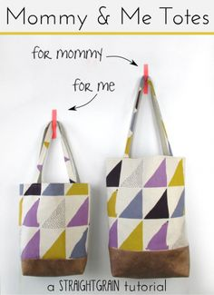 Mommy and Me Totes – Free Sewing Pattern + Tutorial A set of thrifty tote bags to sew from An of Straight Grain.
