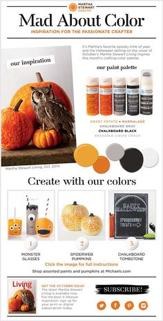 The Martha Stewart Mad About Color for October... Its about Martha's favorite time of year HALLOWEEN! #marthastewart #halloween #plaidcrafts