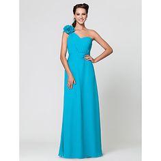 Sheath/Column One Shoulder Floor-length Chiffon Bridesmaid Dress With Flower(s) – GBP £ 64.26