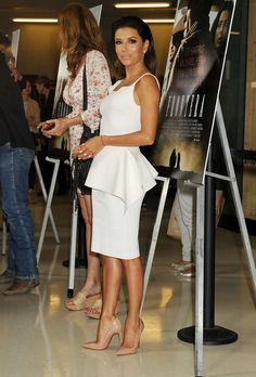 Eva Longoria in a little white peplum dress and Louboutin nude high heels for Frontera promotion
