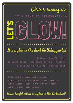 Glow in the Dark Theme Birthday Party Invitation