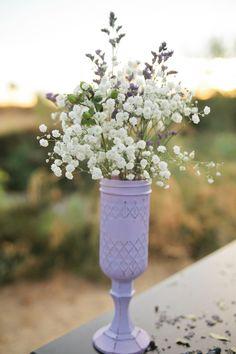 lavender centerpieces http://www.weddingchicks.com/2013/10/14/lavender-wedding-inspiration/