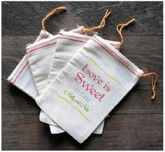 Love is Sweet Custom Wedding Favor Bags  Candy by SixpencePress, $150.00