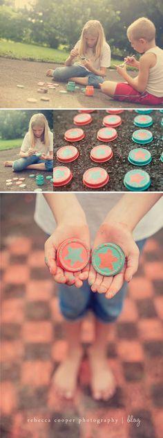 Outdoor DIY checkers using baby food jar lids and sidewalk chalk
