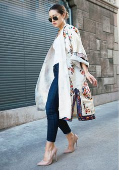 Nude pumps elongate legs and dress up any casual denim look making for a polished appearance. // #Fashion #StreetStyle