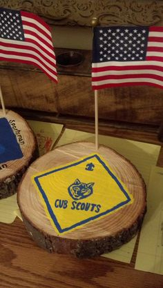 Cub Scout block of wood - wood was from a fallen tree from Hurricane Sandy - I sanded it, and painted it