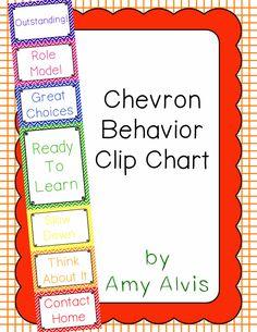 Behavior Clip Chart - Behavior Management - Chevron, $