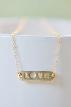 Simple Gold LOVE Necklace