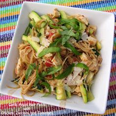 Garlic Angel Hair Pasta with Chicken, Zucchini, and Tomatoes | Rumbly in my Tumbly
